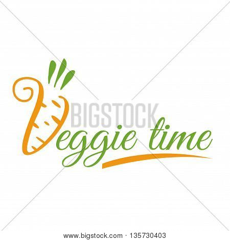 The logo or icon veggie time. Text veggie time isolated on a white background.