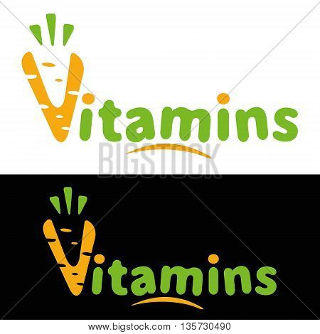 The logo or icon vitamins carrots. Carrot vitamins isolated on white and black background. Logo healthy food.