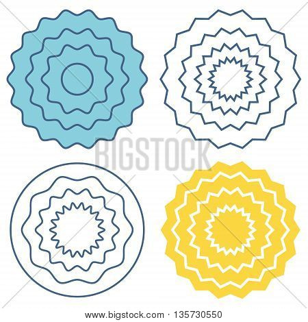 Set circle wave pattern template. Blue, yellow and black waves. Graphic vector circle with waves.