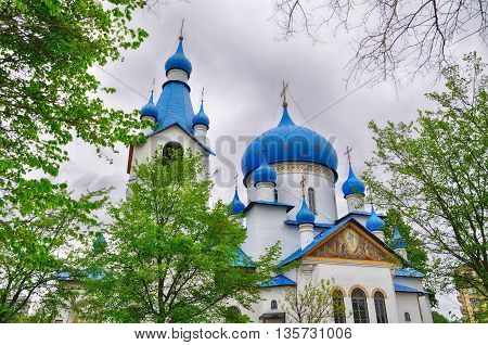 Architecture view. Architecture landmark - Church of the Nativity in the Middle Slingshot in St Petersburg Russia architecture landscape closeup architecture view