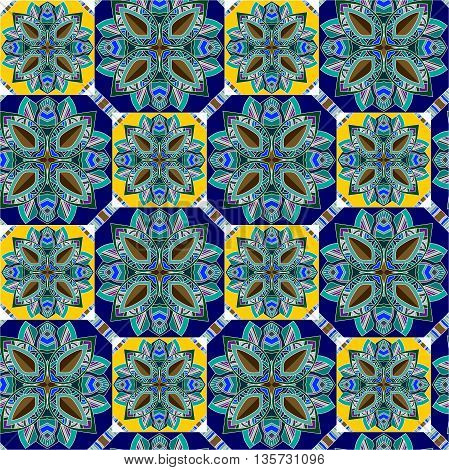 Seamless vector ethnic pattern with geometric flowers. Can be used for floor carpeting, wrapping paper, covers, fabrics.