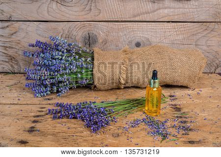 Still Life With Lavender On An Old Rustic Wooden Table
