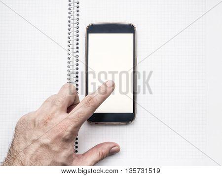 Man's Hand using mobile smart phone mockup