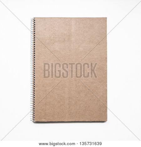 Blank notebook with kraft cardboard cover and spiral, mockup