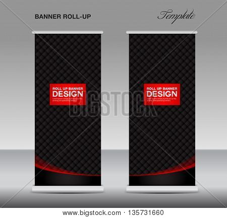 Black and red Roll up banner stand template flyer template vector illustration