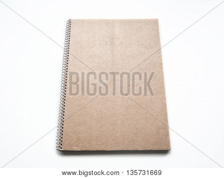 Mockup of Blank notebook with kraft cardboard cover and spiral