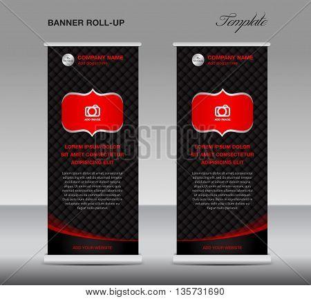 Black and red Roll up banner stand template vintage banner flyer vector illustration