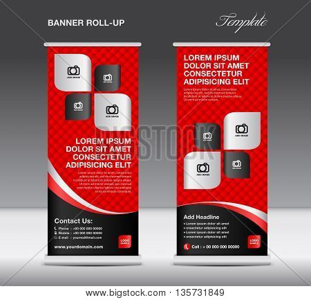 Red and black Roll up banner stand template advertisement flyer template vector illustration