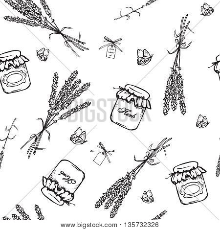 Vintage hand drawn lavender seamless pattern. Vector illustration. Lavender black bouquets background. Engraving illustration. Lavender herbal bouquets vintage bottles and label in vintage style.