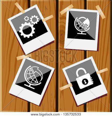 Business set. Photo frames on wooden desk. Vector icons.