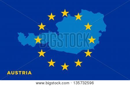 Flag of European Union with Austria on background. Vector EU flag