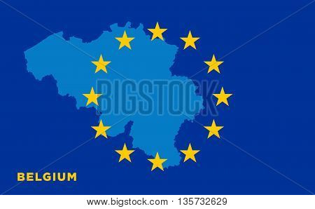 Flag of European Union with Belgium on background. Vector EU flag