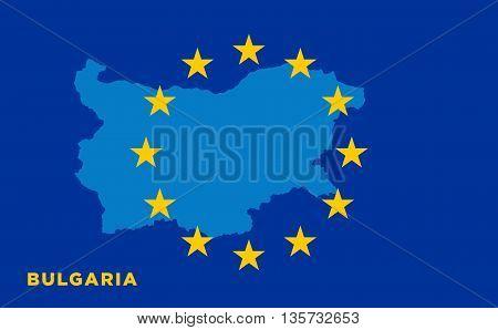 Flag of European Union with Bulgaria on background. Vector EU flag
