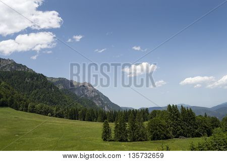 View of the mountains at Stana regala in Sinaia, Romania.