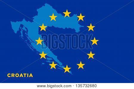 Flag of European Union with Croatia on background. Vector EU flag
