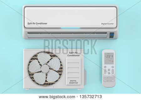 modern air conditioner system with unit and remote control 3D rendering