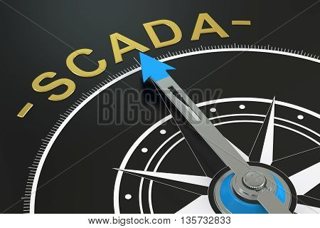 SCADA compass concept 3D rendering on black background