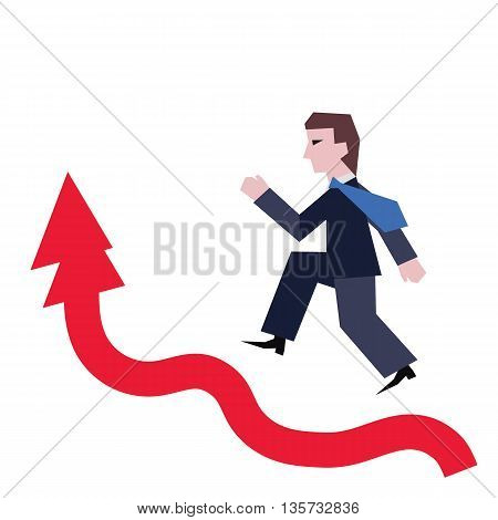 Running businessman on successful diagram vector illustration