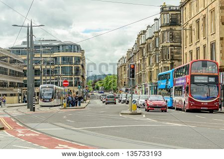 EDINBURGH SCOTLAND - JUNE 20 2016: Trams cars and busses at Haymarket Terrace in the west end of Ediinburgh.