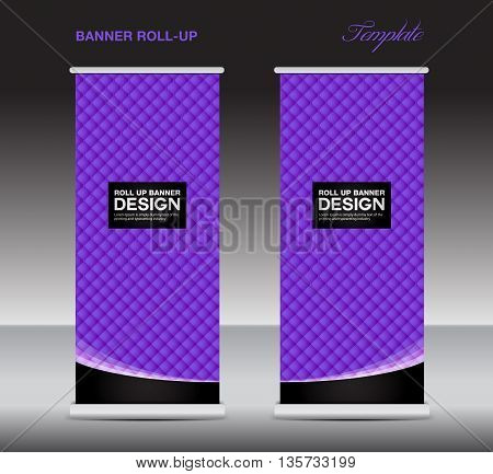 purple Roll up banner stand template flyer template vector illustration