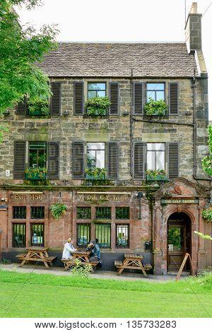 EDINBURGH SCOTLAND - JUNE 20 2016: The Golf Tavern at Bruntsfield Links in Edinburgh. The tavern is one of the oldest public houses established in 1456.