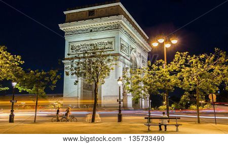 The Triumphal Arch is on of the famous monument in Paris.It stands in the center of the place Charles de Gaule at the western end of the Champs Elysees avenue.