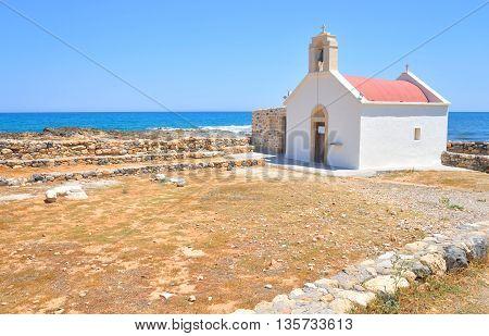 Ekklisia Agios Nikolaos near Hersonissos on coast of sea Crete Greece.