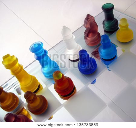 chess set made of glass