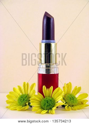 lipstick and flowers