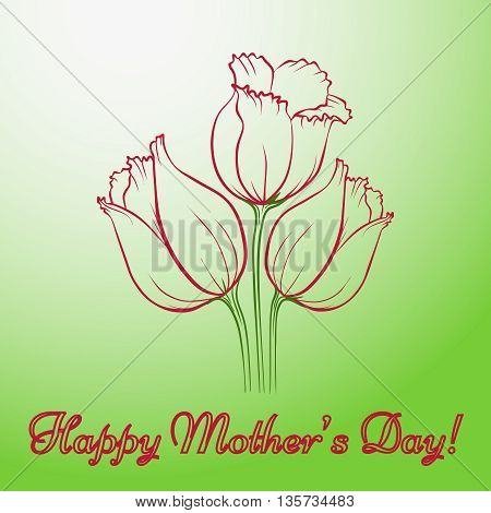 Happy Mothers Day. Vector festive holiday illustration with lettering and tulips. Happy mother day background. Hand drown illustration.