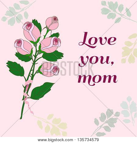 Happy Mothers Day. Vector festive holiday illustration with lettering and roses. Happy mother day background