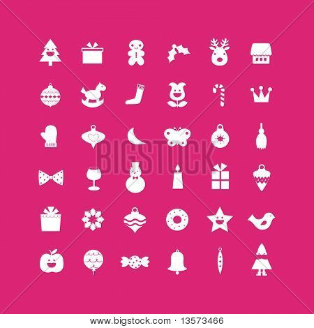 vector set of christmas icons