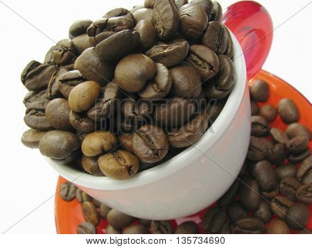 cup full with coffee beans