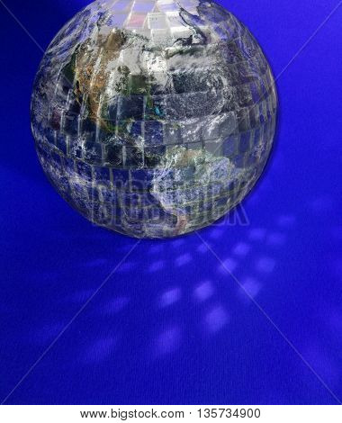 earth in disco ball...concept greenhouse effect