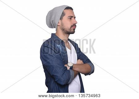 Portrait of young latin thoughtful man. Isolated white background.