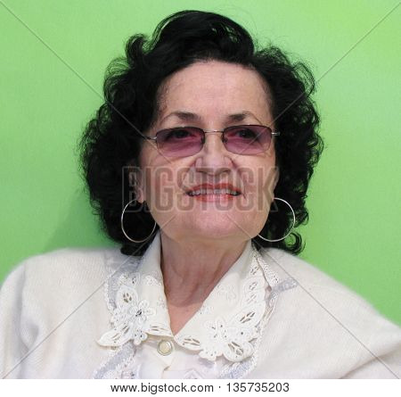 beauty mature lady with glass