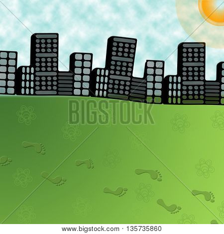 big city and foot steps on green grass