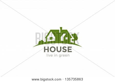House Logo Real Estate vector Eco green Farm icon Negative space