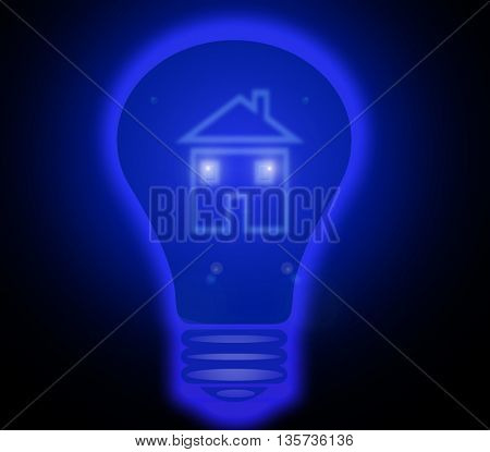 house inside of the blue shining lighbulb