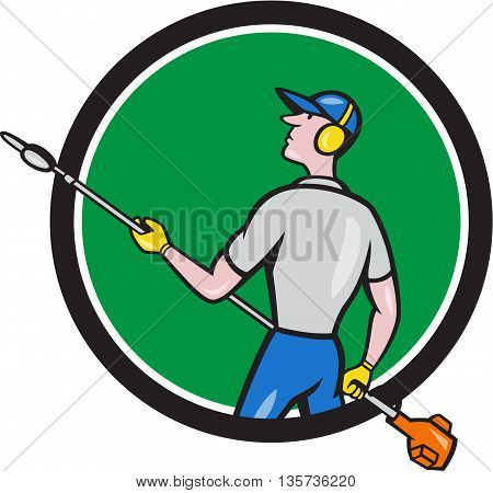 Cartoon style illustration of male gardener holding hedge trimmer looking to the side viewed from rear set inside circle on isolated background.