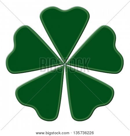Happy green clover with five leaves