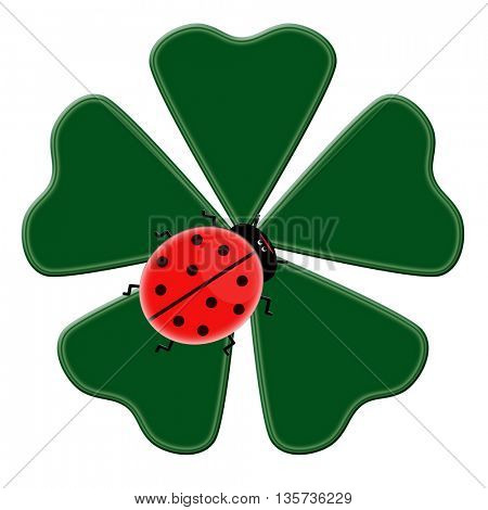 Happy green clover with five leaves with ladybug on it