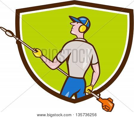 Cartoon style illustration of male gardener holding hedge trimmer looking to the side viewed from rear set inside shield crest on isolated background.