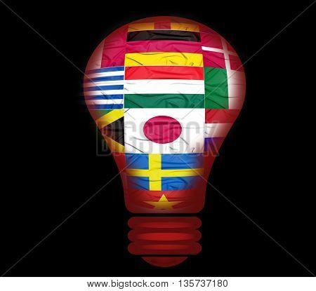 bulb light and flags