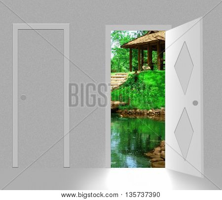 landscape behind open door