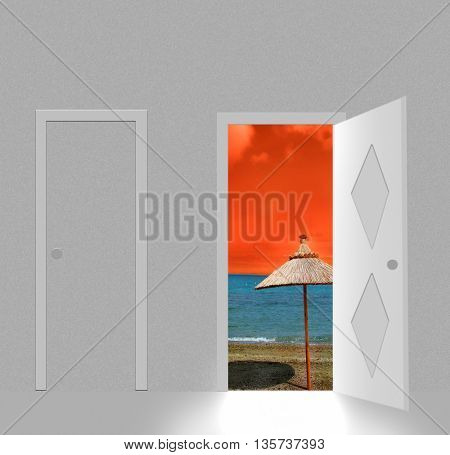 Sunny beach behind open door