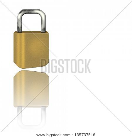 Golden lock with its reflection isolated on white background