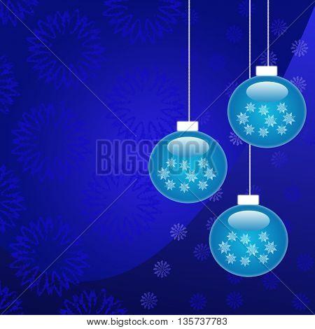 Beautiful blue Christmas decorations on blue background
