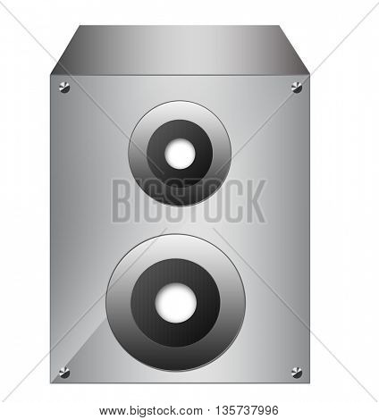 Silver speaker isolated on white background