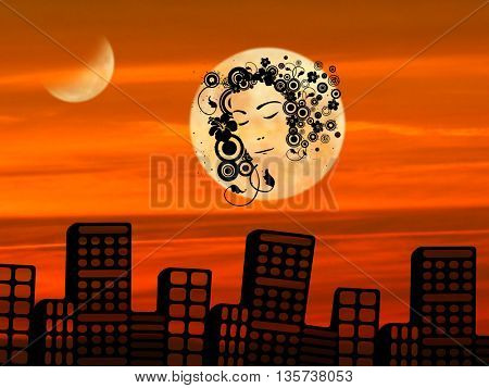 Beautiful sunset and silhouette of face of girl